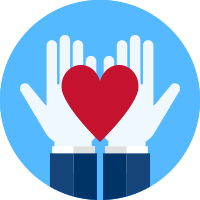 An icon showing two open hands holding a heart.