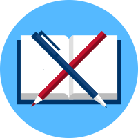 An icon showing a notebook with pen and pencil.