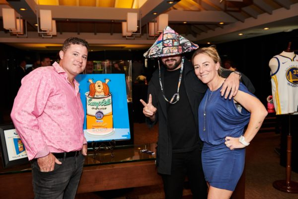 Marcella and Matthew Cava with Artist Super Buddha